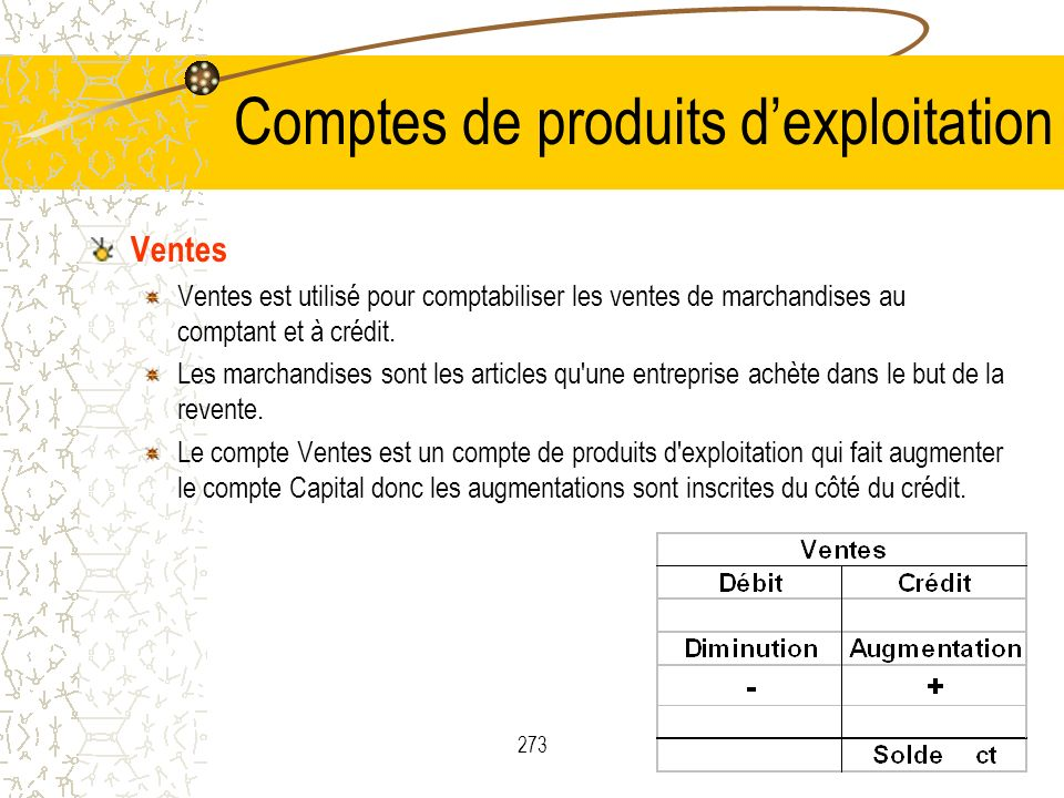 Comptes de produits d'exploitation
