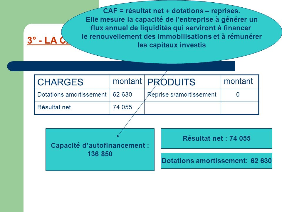 3° - LA CAPACITE D'AUTOFINANCEMENT : CAF