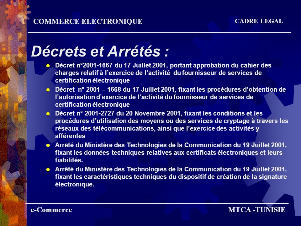 Décrets et Arrétés : COMMERCE ELECTRONIQUE e-Commerce MTCA -TUNISIE