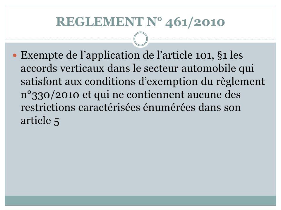 REGLEMENT N° 461/2010