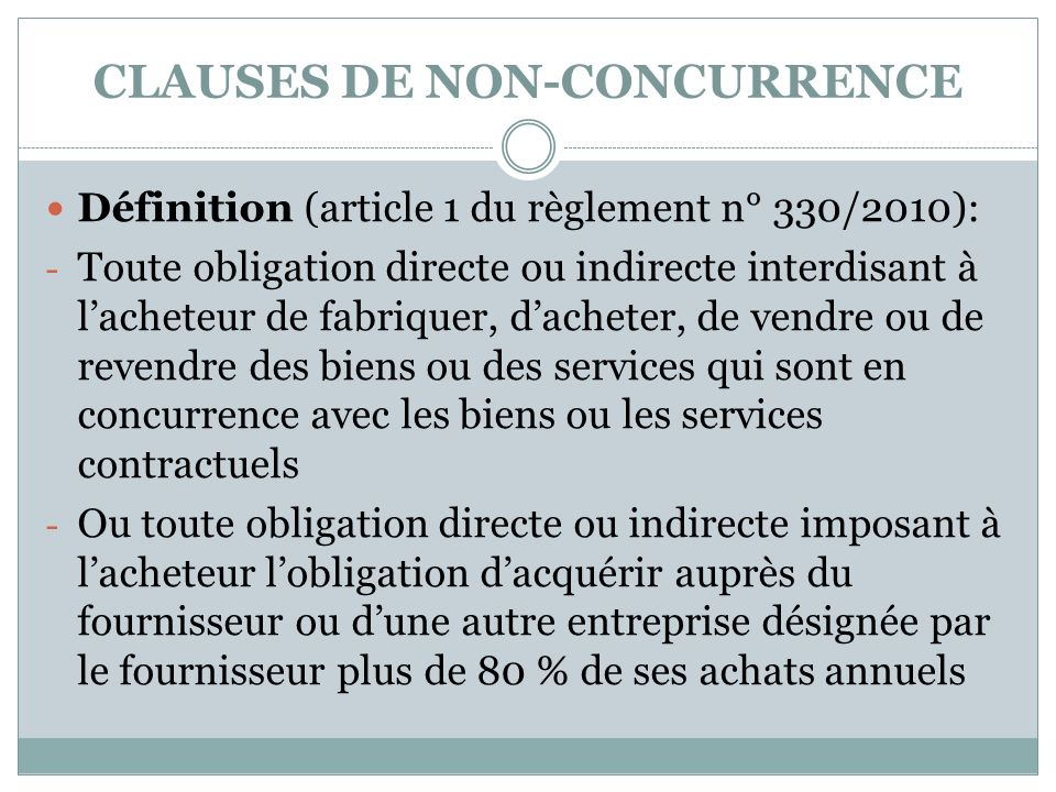 CLAUSES DE NON-CONCURRENCE