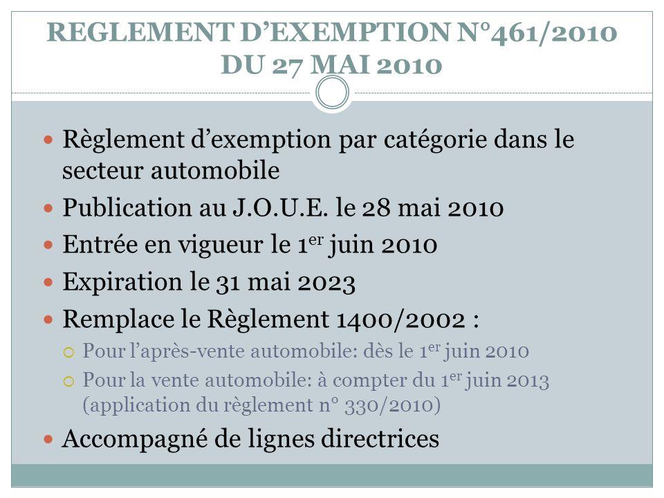 REGLEMENT D'EXEMPTION N°461/2010 DU 27 MAI 2010