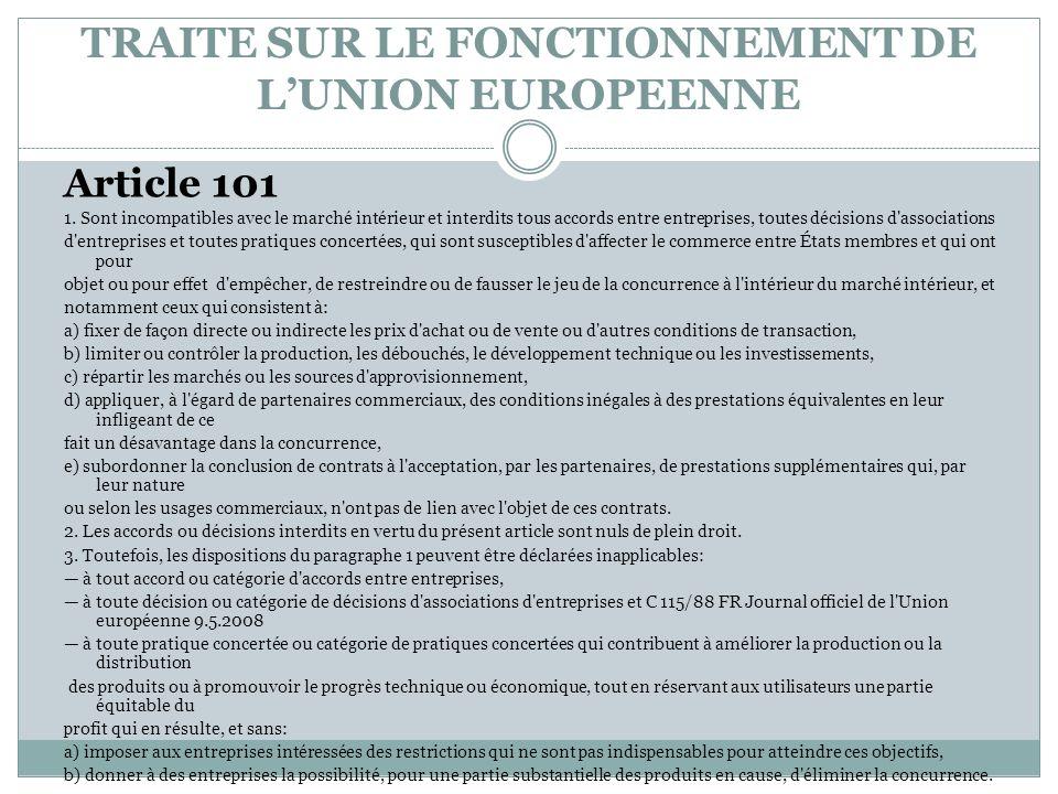 TRAITE SUR LE FONCTIONNEMENT DE L'UNION EUROPEENNE