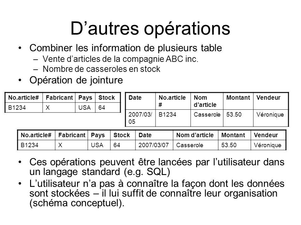 D'autres opérations Combiner les information de plusieurs table