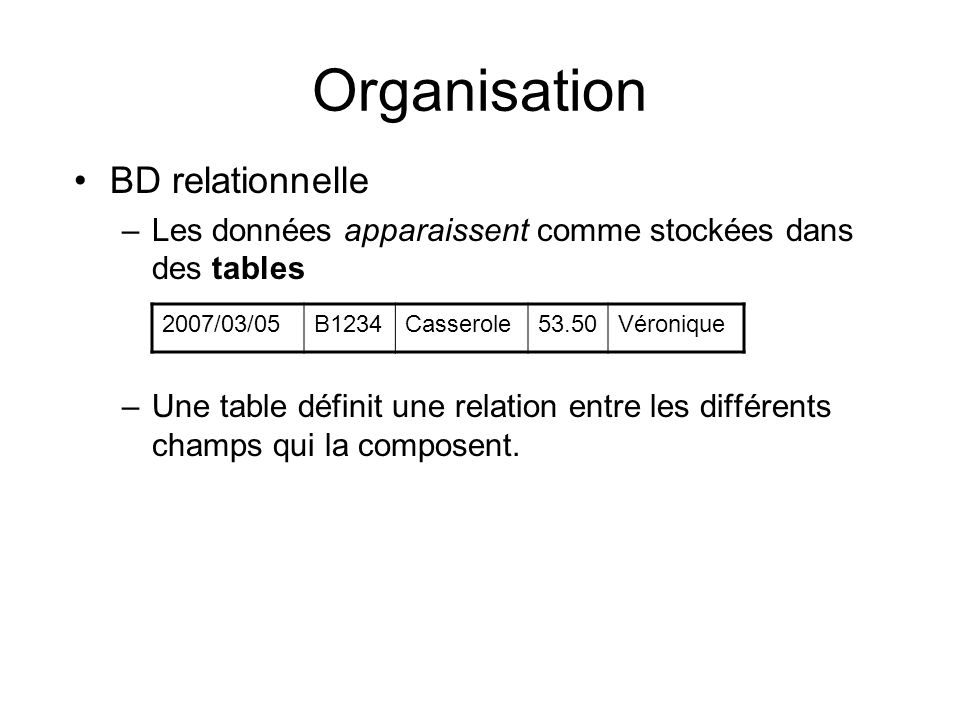 Organisation BD relationnelle