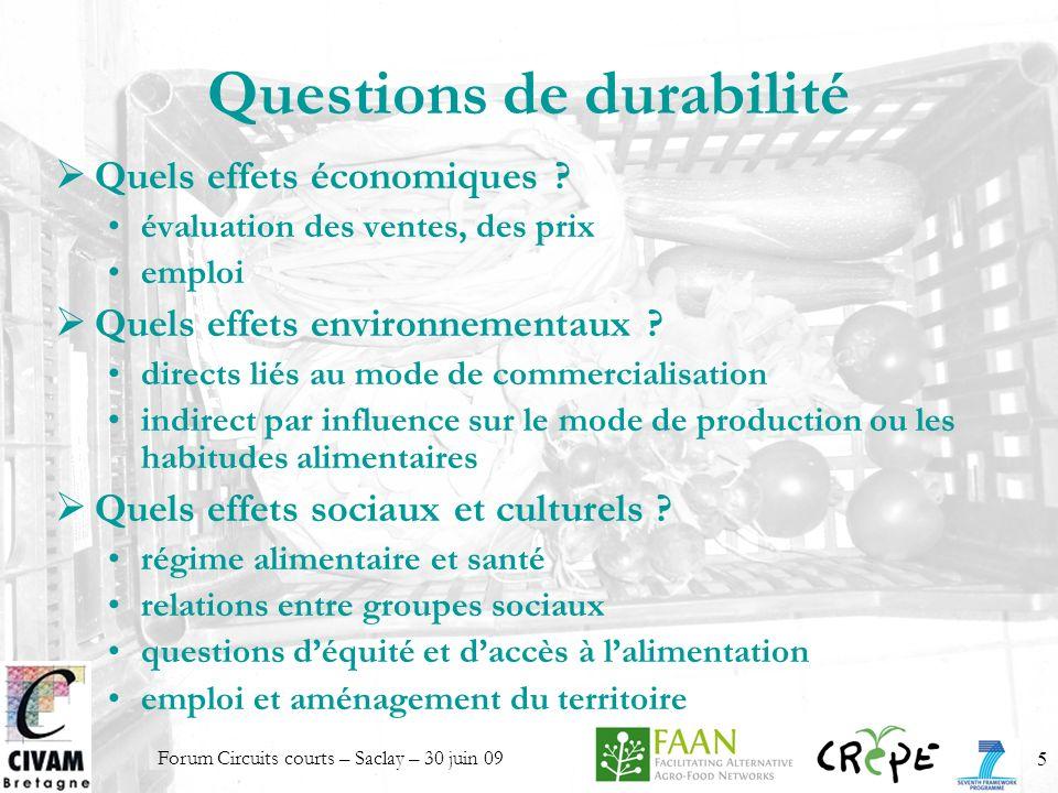 Questions de durabilité