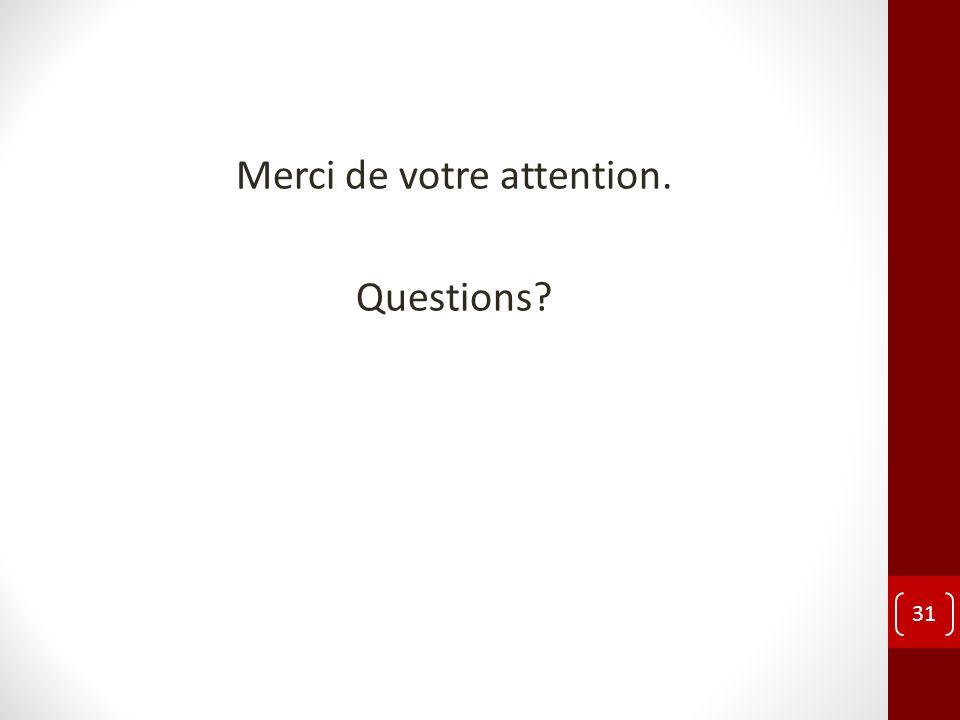 Merci de votre attention. Questions