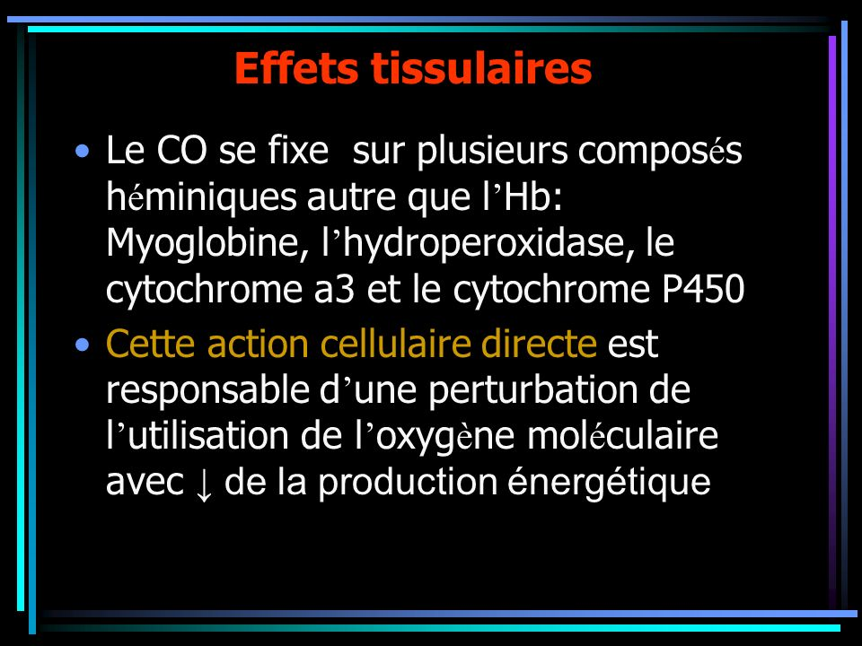 Effets tissulaires
