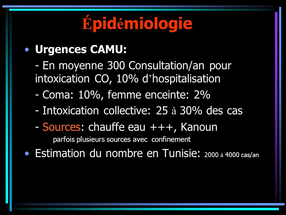 Épidémiologie Urgences CAMU: