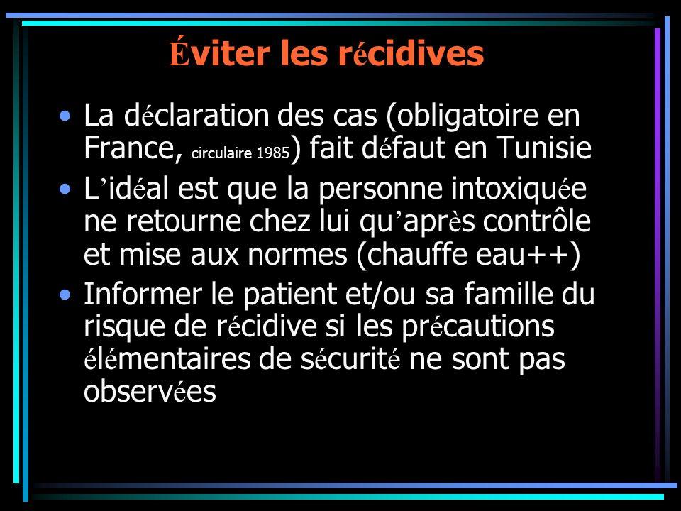 Éviter les récidives La déclaration des cas (obligatoire en France, circulaire 1985) fait défaut en Tunisie.