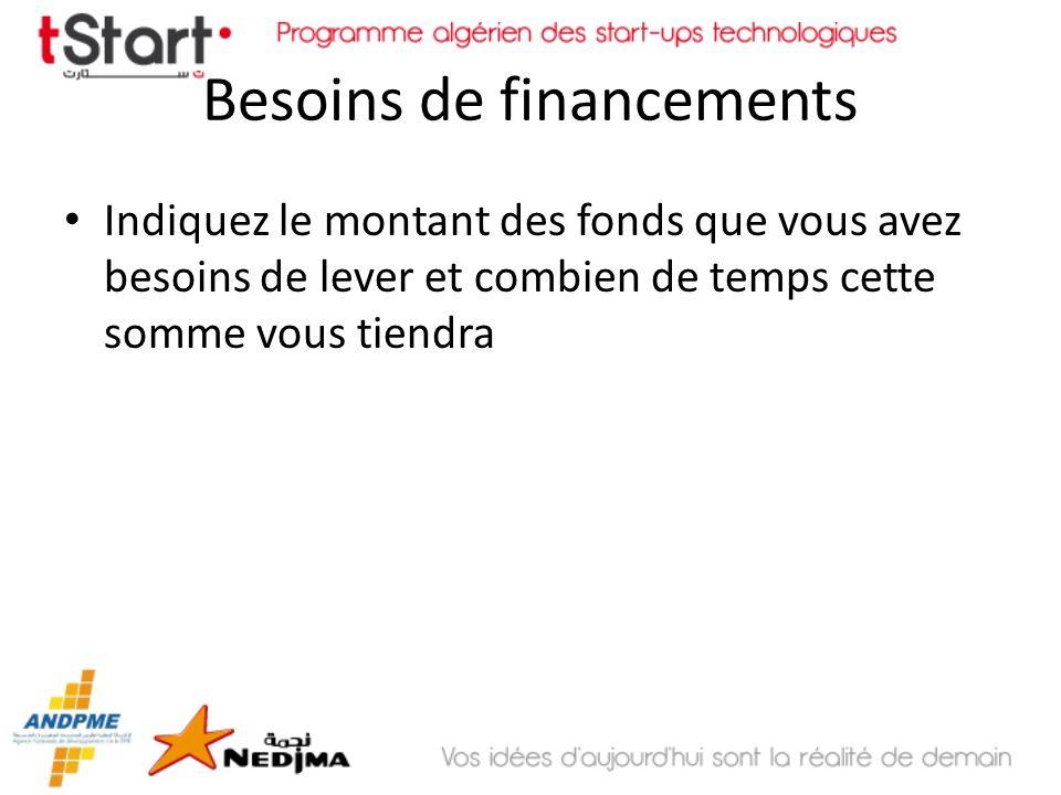 Besoins de financements