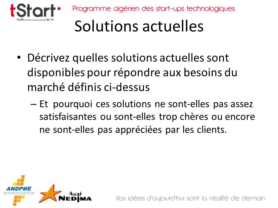 Solutions actuellesDécrivez quelles solutions actuelles sont disponibles pour répondre aux besoins du marché définis ci-dessus.