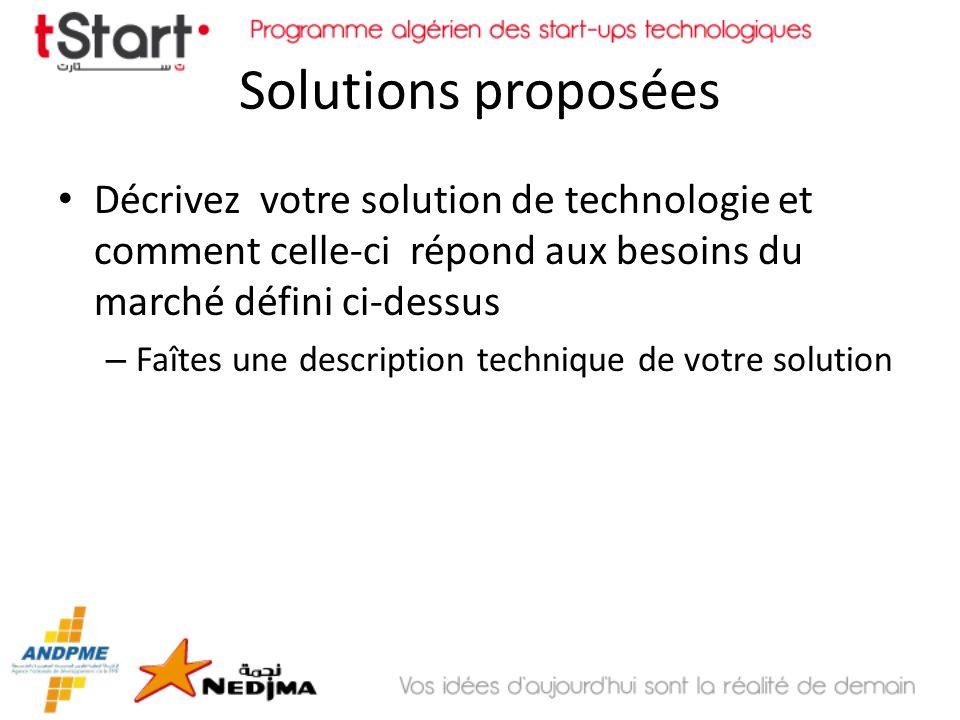Solutions proposéesDécrivez votre solution de technologie et comment celle-ci répond aux besoins du marché défini ci-dessus.