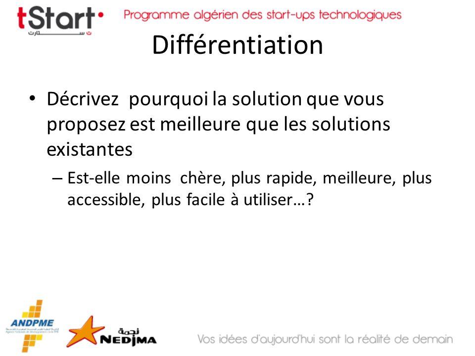 Différentiation Décrivez pourquoi la solution que vous proposez est meilleure que les solutions existantes.