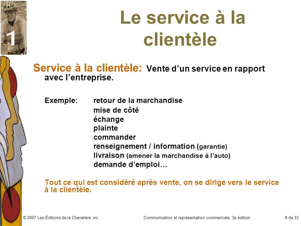 Le service à la clientèle