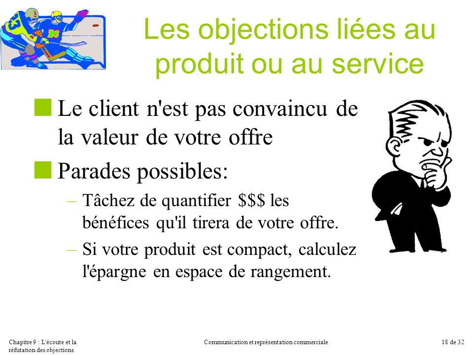 Les objections liées au produit ou au service