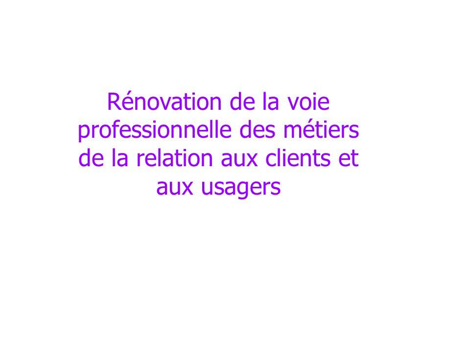 Rénovation de la voie professionnelle des métiers de la relation aux clients et aux usagers