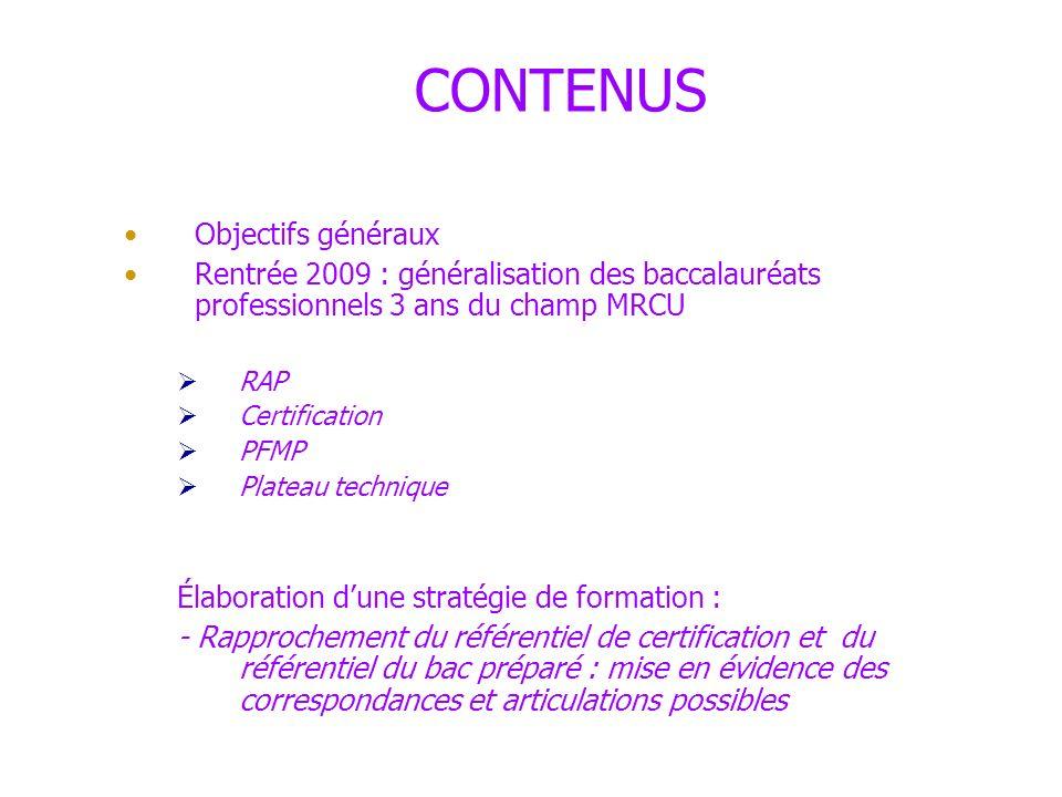 CONTENUS Objectifs généraux
