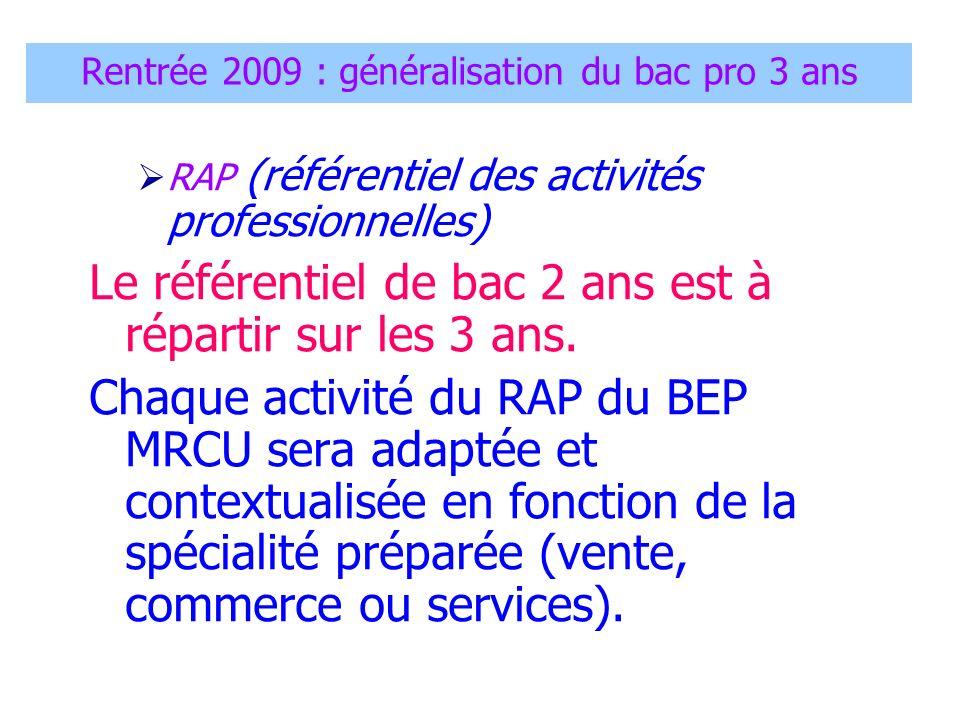 Rentrée 2009 : généralisation du bac pro 3 ans