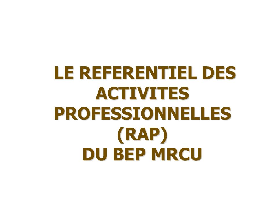 LE REFERENTIEL DES ACTIVITES PROFESSIONNELLES (RAP)