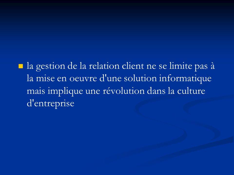 la gestion de la relation client ne se limite pas à la mise en oeuvre d une solution informatique mais implique une révolution dans la culture d entreprise
