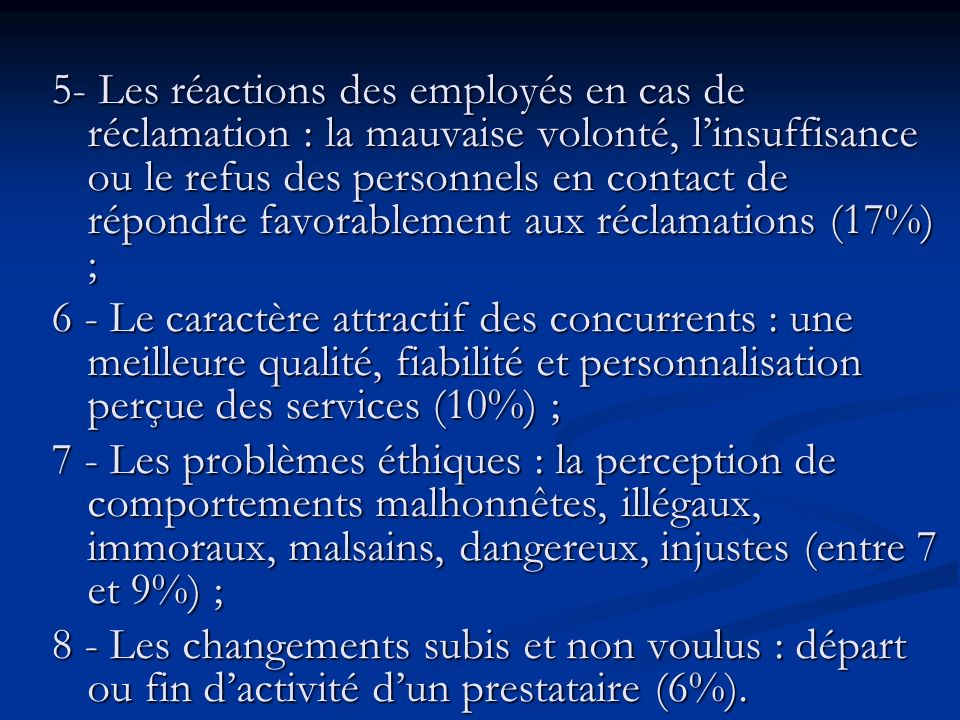 5- Les réactions des employés en cas de réclamation : la mauvaise volonté, l'insuffisance ou le refus des personnels en contact de répondre favorablement aux réclamations (17%) ;