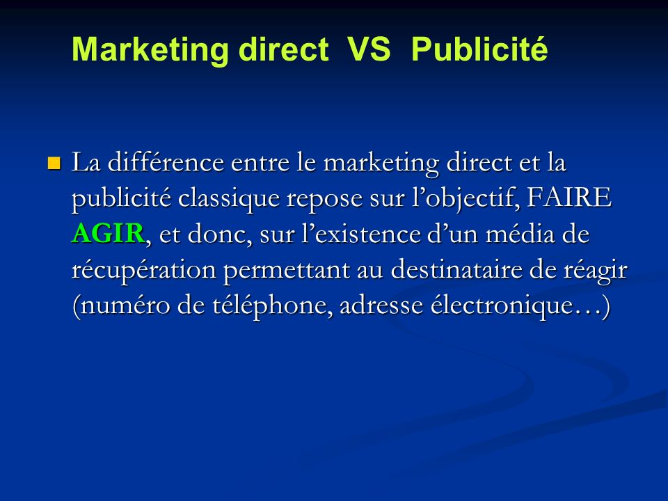 Marketing direct VS Publicité