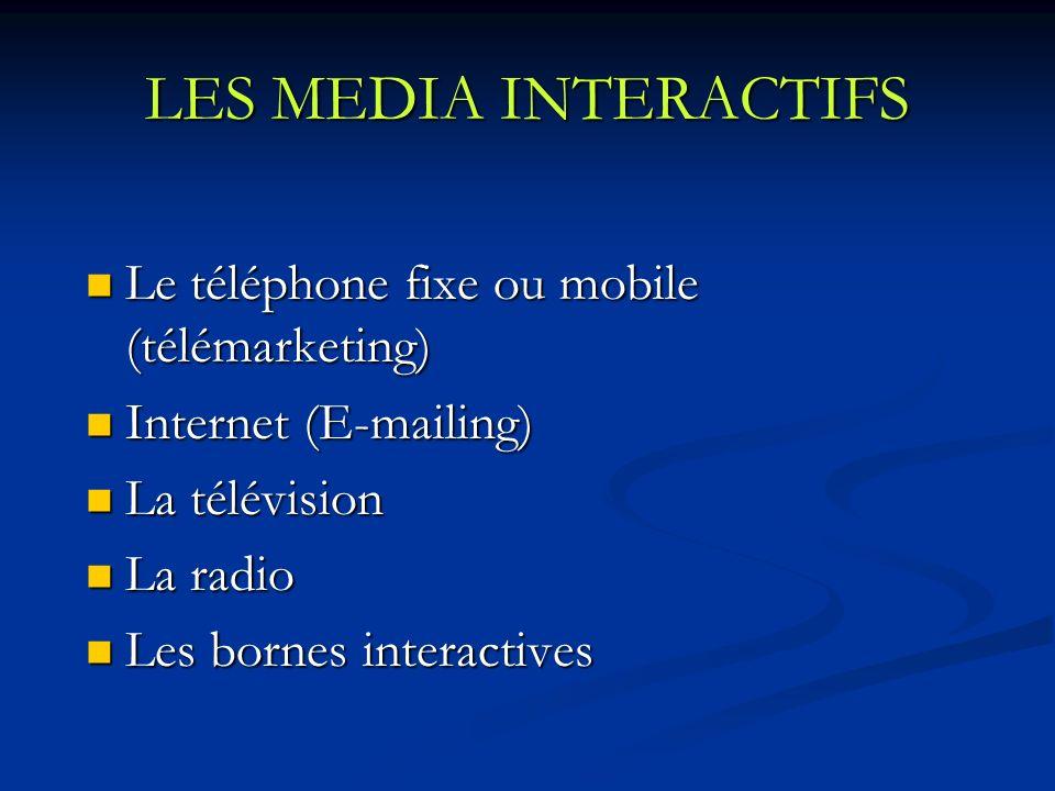 LES MEDIA INTERACTIFS Le téléphone fixe ou mobile (télémarketing)