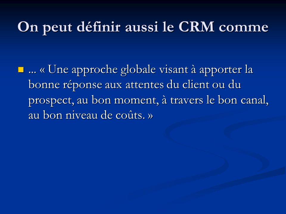 On peut définir aussi le CRM comme