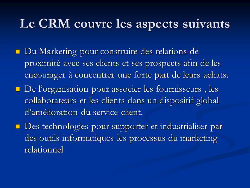 Le CRM couvre les aspects suivants