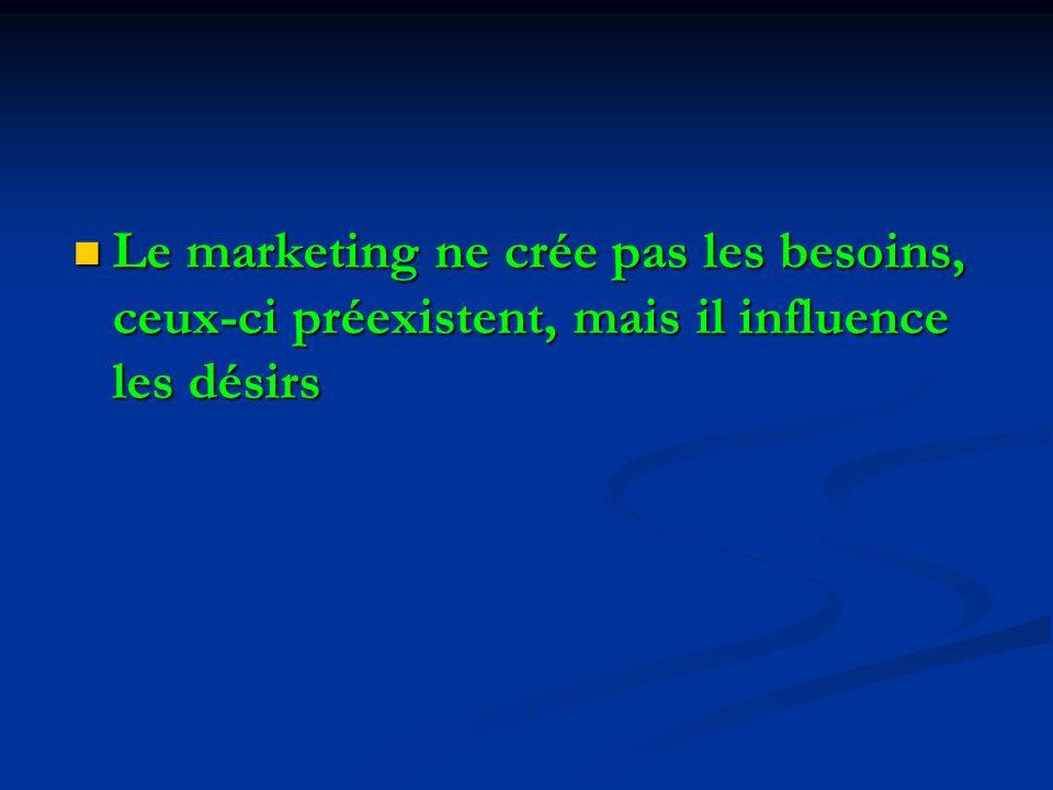 Le marketing ne crée pas les besoins, ceux-ci préexistent, mais il influence les désirs