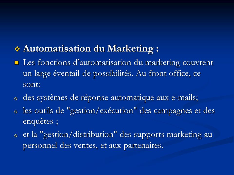Automatisation du Marketing :