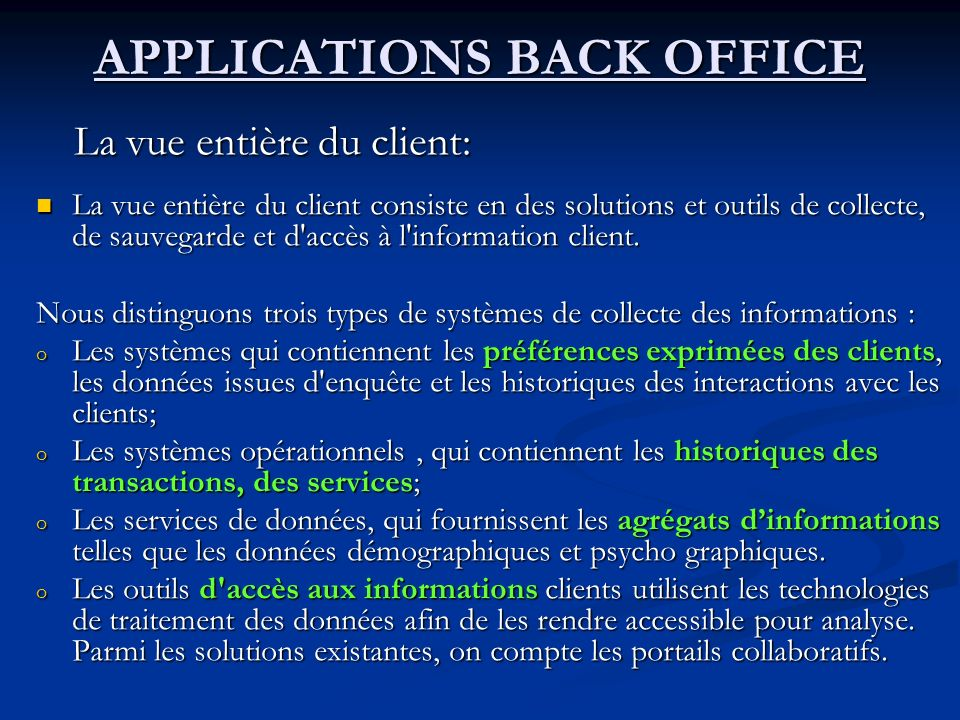 APPLICATIONS BACK OFFICE