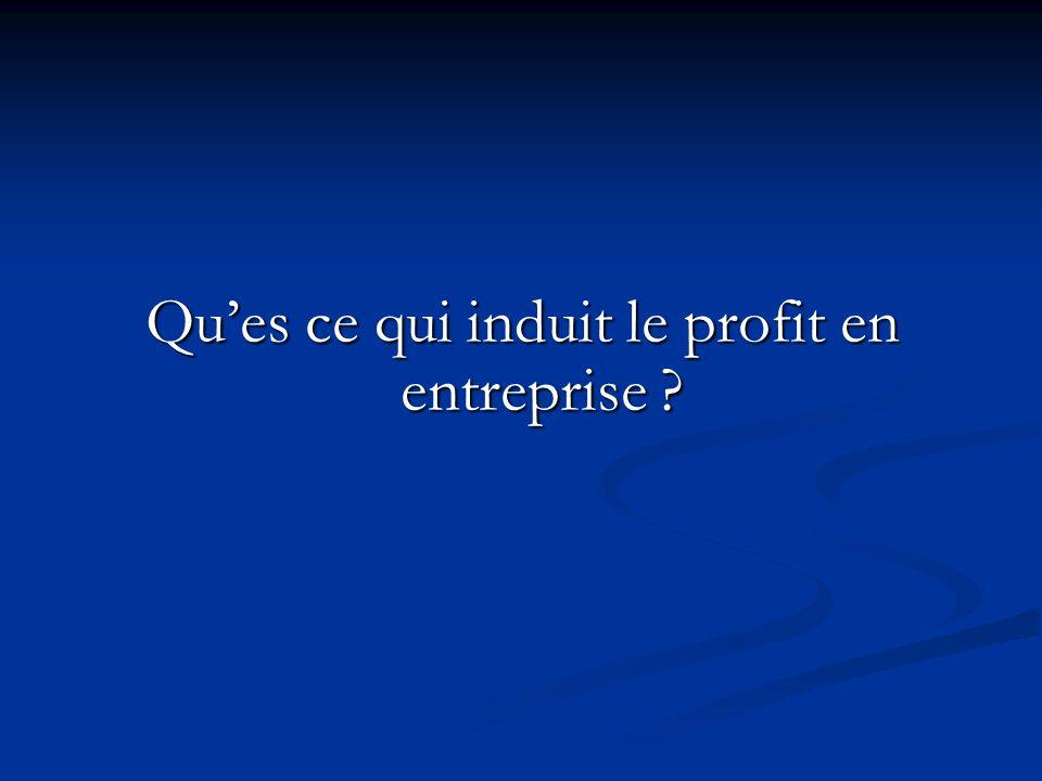 Qu'es ce qui induit le profit en entreprise