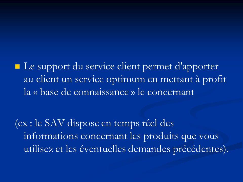 Le support du service client permet d apporter au client un service optimum en mettant à profit la « base de connaissance » le concernant