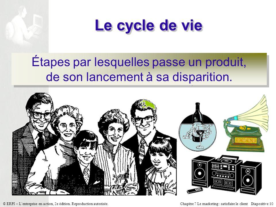 Le cycle de vie Étapes par lesquelles passe un produit, de son lancement à sa disparition.