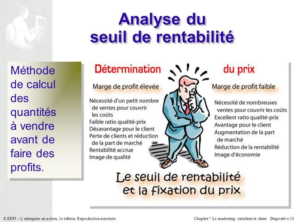 Analyse du seuil de rentabilité
