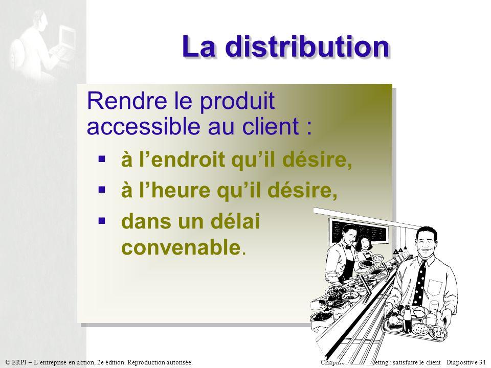 La distribution Rendre le produit accessible au client :