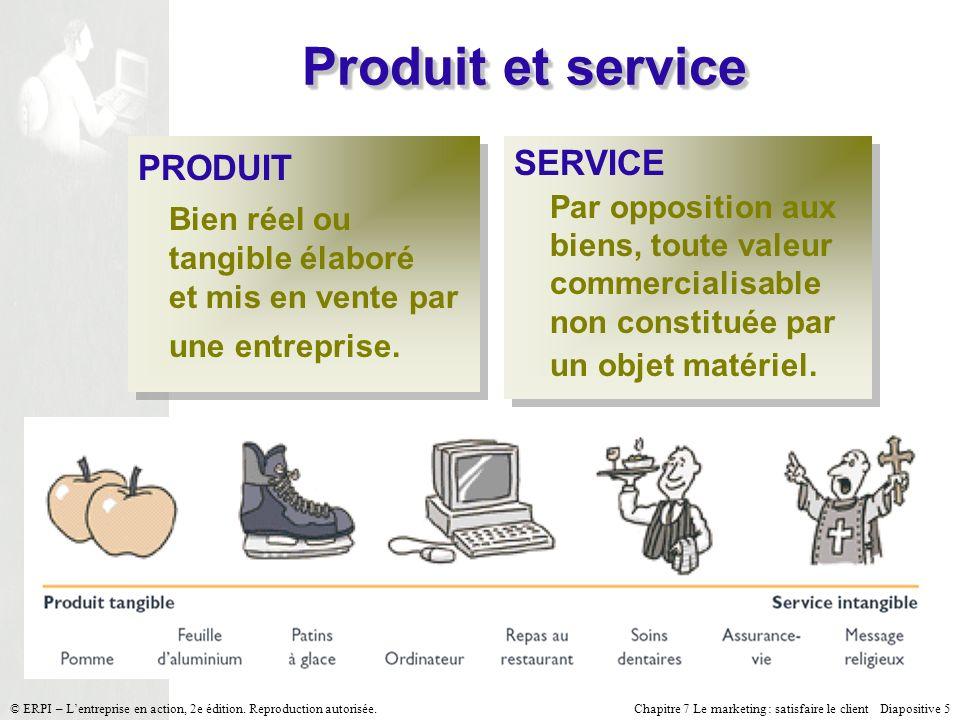 Produit et service PRODUIT Bien réel ou tangible élaboré et mis en vente par une entreprise. SERVICE.