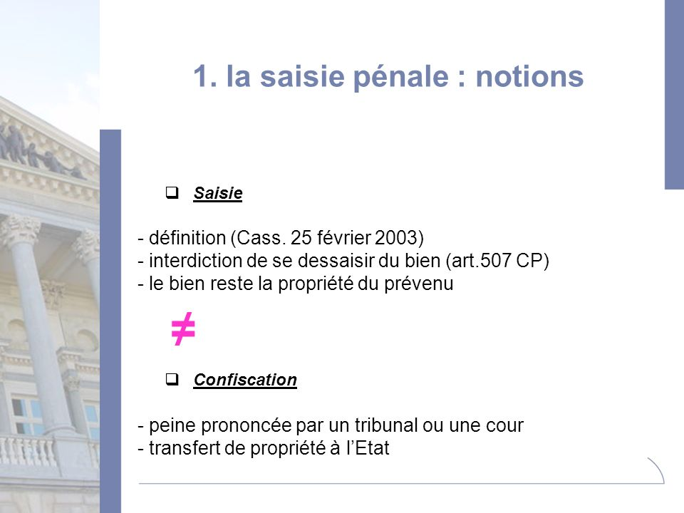 1. la saisie pénale : notions
