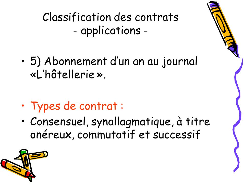 Classification des contrats - applications -