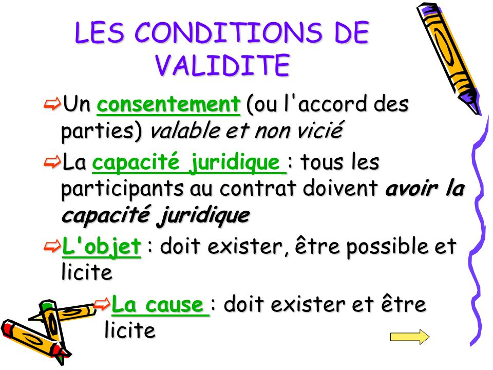 LES CONDITIONS DE VALIDITE