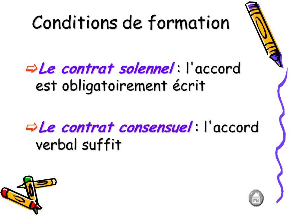 Conditions de formation