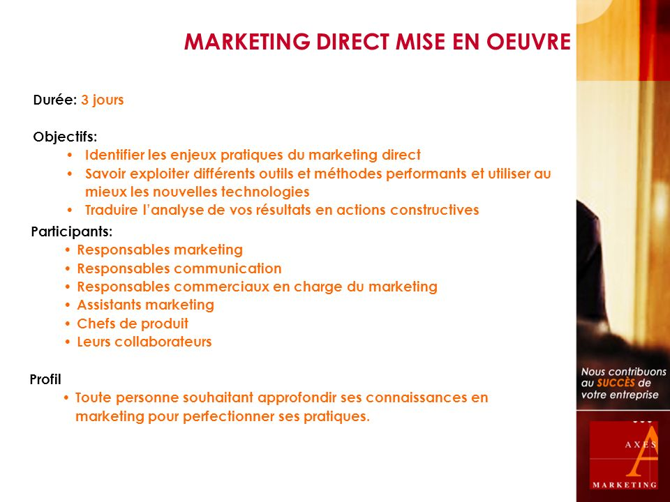 MARKETING DIRECT MISE EN OEUVRE