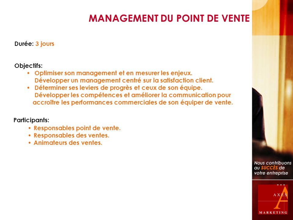 MANAGEMENT DU POINT DE VENTE