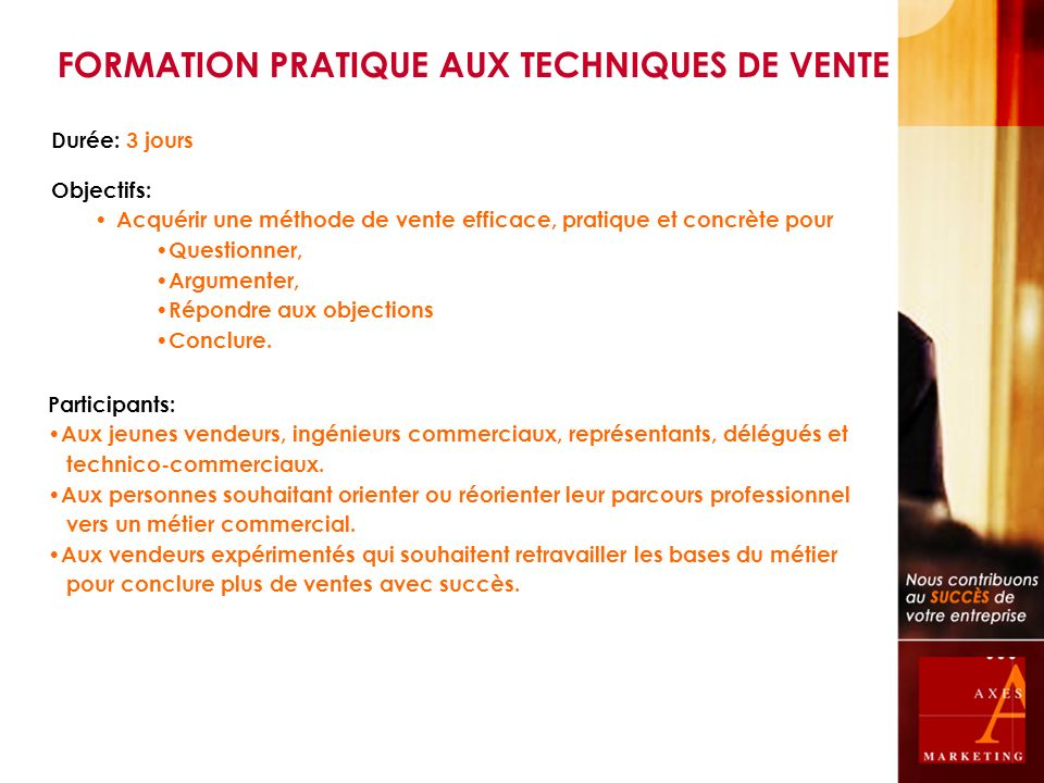 FORMATION PRATIQUE AUX TECHNIQUES DE VENTE