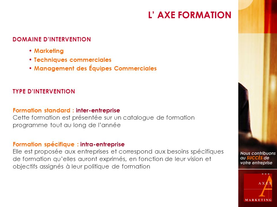 L' AXE FORMATION DOMAINE D'INTERVENTION Marketing