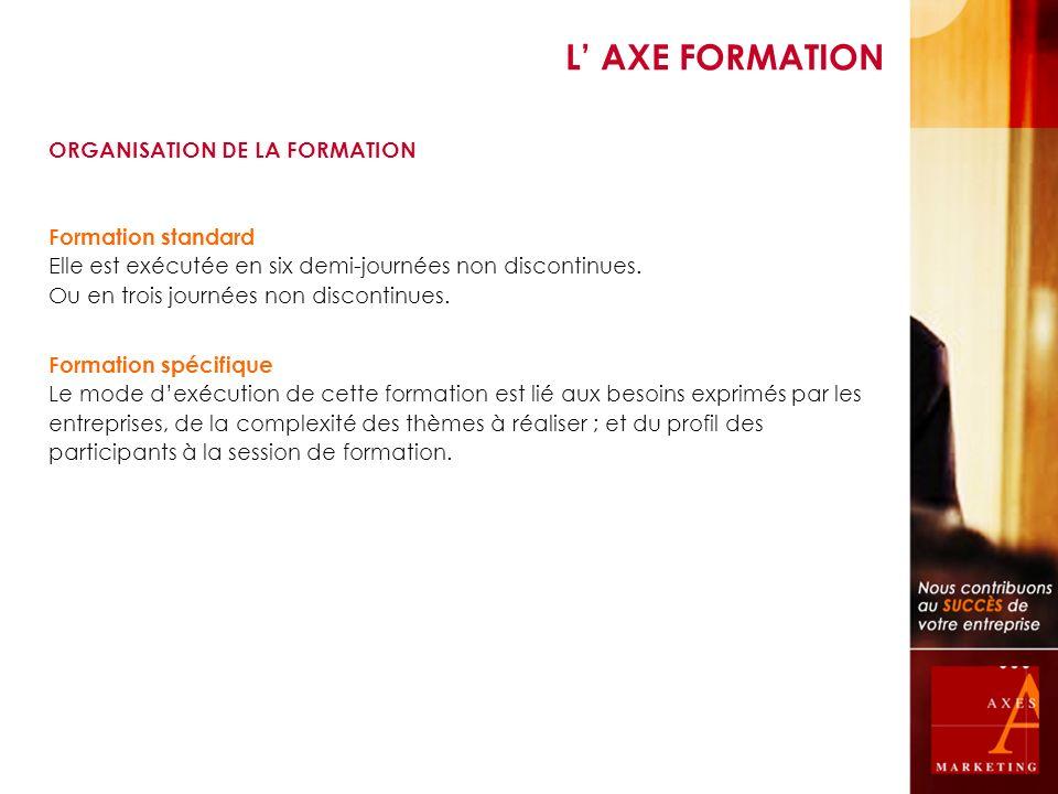 L' AXE FORMATION ORGANISATION DE LA FORMATION Formation standard