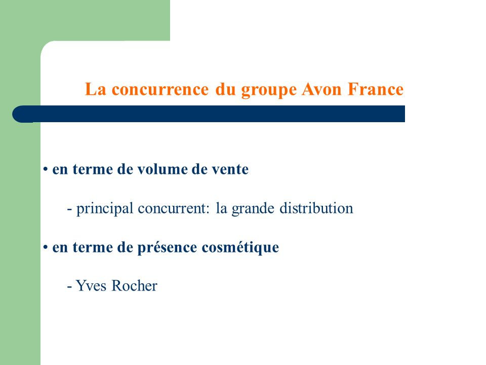 La concurrence du groupe Avon France