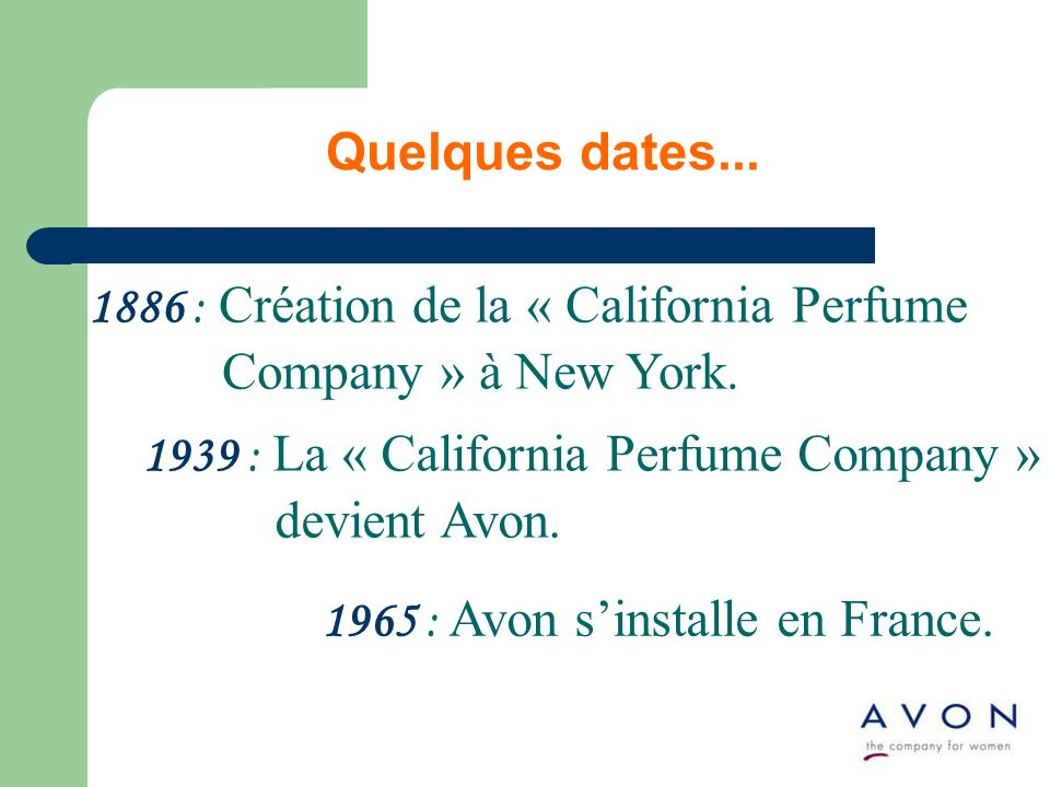 Quelques dates... 1886 : Création de la « California Perfume Company » à New York.